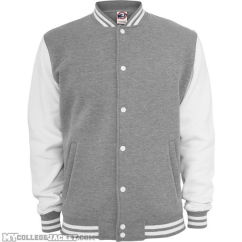 2-Tone College Sweatjacket Grey/White Front