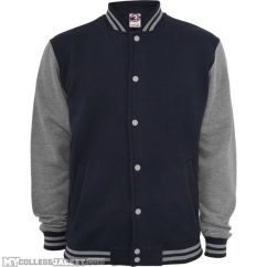 2-Tone College Sweatjacket Navy/Grey Front