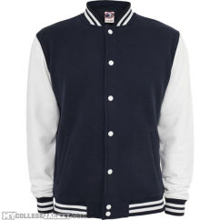 2-Tone College Sweatjacket Navy/White Front