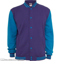 2-Tone College Sweatjacket Purple/Turquoise Front