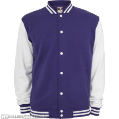 2-Tone College Sweatjacket Purple/White Front