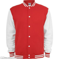 2-Tone College Sweatjacket Red/White Front