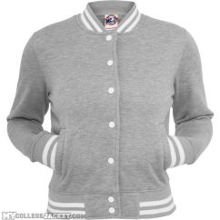 Ladies College Sweatjacket Grey Front