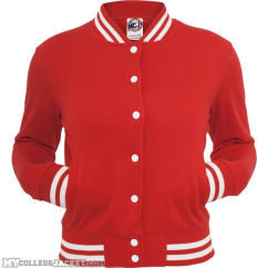 Ladies College Sweatjacket Red Front