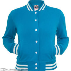 Ladies College Sweatjacket Turquoise Front