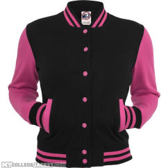 Ladies 2-Tone College Sweatjacket Black/Fuchsia Front