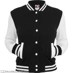 Ladies 2-Tone College Sweatjacket Black/White Front