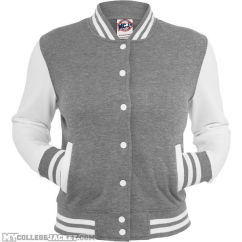 Ladies 2-Tone College Sweatjacket Grey/White Front