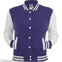 Ladies 2-Tone College Sweatjacket Purple/White Front