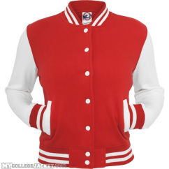 Ladies 2-Tone College Sweatjacket Red/White Front