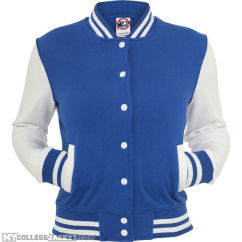 Ladies 2-Tone College Sweatjacket Royal/White Front