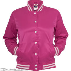 Ladies Shiny College Jacket Fuchsia/White Front