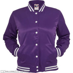 Ladies Shiny College Jacket Purple/White Front
