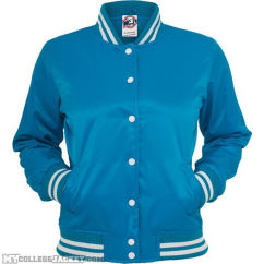 Ladies Shiny College Jacket turquoise/white Front