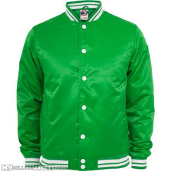 Mens Shiny College Jacket Green/White Front