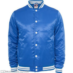 Mens Shiny College Jacket Royal/White Front