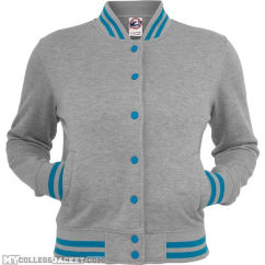Ladies Metallic College Sweatjacket (Light)grey/turquoise Front