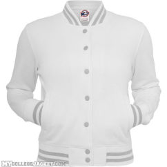 Ladies Metallic College Sweatjacket White/Silver Front