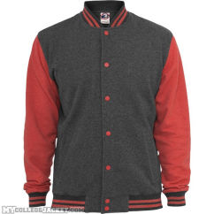 Melange College Sweatjacket Black/Red Front