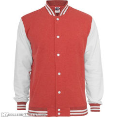 Melange College Sweatjacket Red/White Front