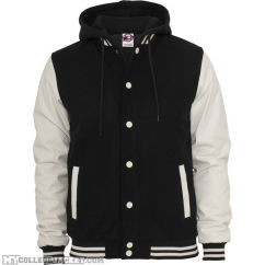 Hooded oldschool College Jacket Black/White Front