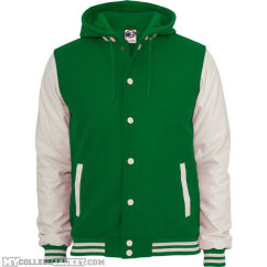 Hooded oldschool College Jacket Green/White Front