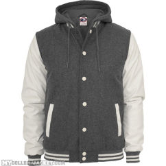 Hooded oldschool College Jacket Grey/White Front