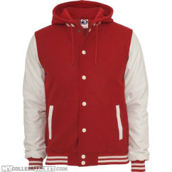 Hooded oldschool College Jacket Red/White Front