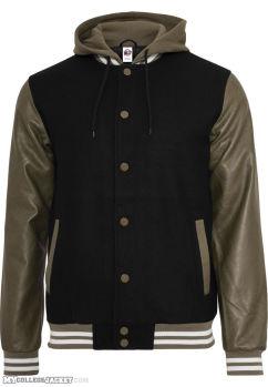 Hooded oldschool College Jacket Black/Green Front