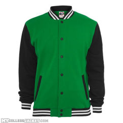 3-Tone College Sweatjacket green/black/white Front