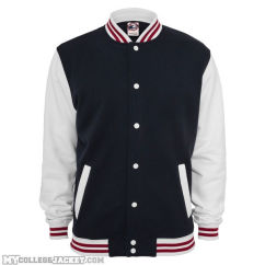 3-Tone College Sweatjacket navy/white/ruby Front