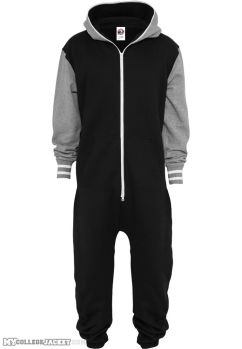 College Sweat Jumpsuite Black/Grey Front