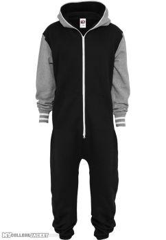 College Sweat Jumpsuite Black/Grey Front