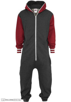 College Sweat Jumpsuite Charcoal/Ruby Front