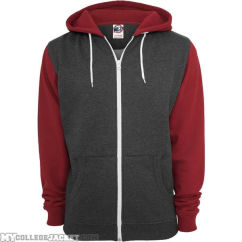 Relaxed 3-Tone Zip Hoody Charcoal/Ruby/White Front