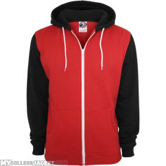 Relaxed 3-Tone Zip Hoody Red/Black/White Front
