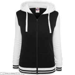 Ladies 2-Tone College Zip Hoody Black/White Front