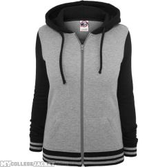 Ladies 2-Tone College Zip Hoody Grey/Black Front