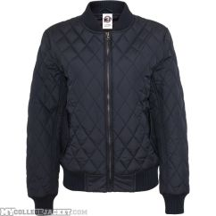 Ladies Diamond Quilt Nylon Jacket Navy Front