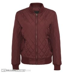 Ladies Diamond Quilt Nylon Jacket Burgundy Front