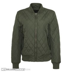 Ladies Diamond Quilt Nylon Jacket Olive Front