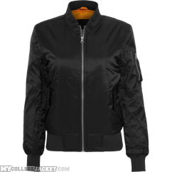 Ladies Basic Bomber Jacket Black Front