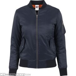 Ladies Basic Bomber Jacket Navy Front