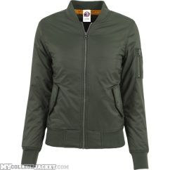 Ladies Basic Bomber Jacket Olive Front