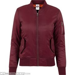 Ladies Basic Bomber Jacket Burgundy Front