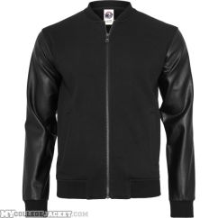 Zipped Leather Imitation Sleeve Jacket Black/Black Front