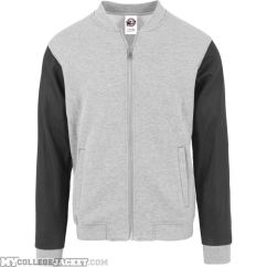 Zipped Leather Imitation Sleeve Jacket Grey/Black Front
