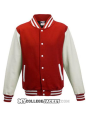 Kids 2-Tone College Sweatjacket Red/White