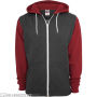 Relaxed 3-Tone Zip Hoody Charcoal/Ruby/White