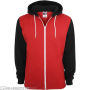Relaxed 3-Tone Zip Hoody Red/Black/White